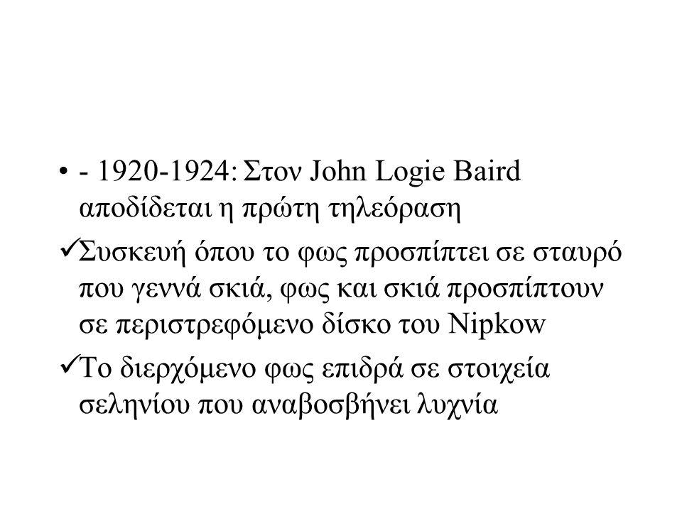 - 1920-1924: Στον John Logie Baird αποδίδεται η πρώτη τηλεόραση Συσκευή όπου το φως προσπίπτει σε σταυρό που γεννά σκιά, φως και σκιά προσπίπτουν σε π