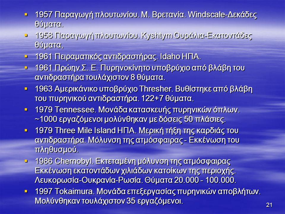 21  1957 Παραγωγή πλουτωνίου.Μ. Βρετανία. Windscale-Δεκάδες θύματα.