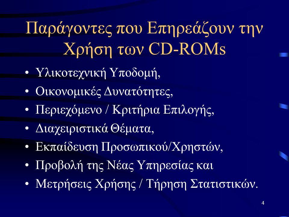 5 Παράγοντες που Επηρεάζουν την Χρήση των CD-ROMs Υλικοτεχνική Υποδομή: –Προσεκτικός Σχεδιασμός, –Απαιτήσεις CD-ROMs, –Ισχυρός server - Αποθηκευτικές Μονάδες - Σωστή Δικτύωση