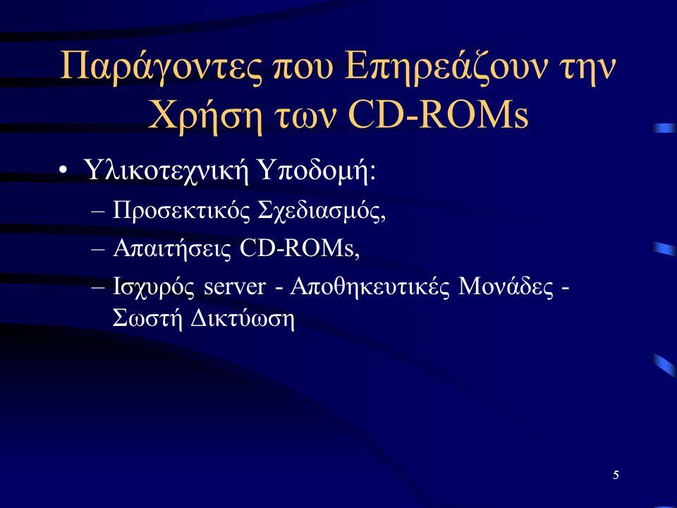 6 Παράγοντες που Επηρεάζουν την Χρήση των CD-ROMs Υλικοτεχνική Υποδομή, Οικονομικές Δυνατότητες: –Κόστος Αγοράς Hardware, –Κόστος Συντήρησης / Αναβάθμισης, –Κόστος Υποστήριξης, –Κόστος Εκπαίδευσης, –Κόστος Λογισμικού Διαχείρισης και –Κόστος Αγοράς CD-ROMs.