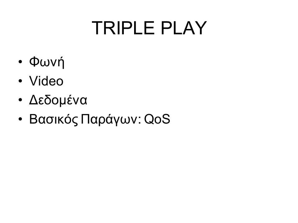 TRIPLE PLAY Φωνή Video Δεδομένα Βασικός Παράγων: QoS