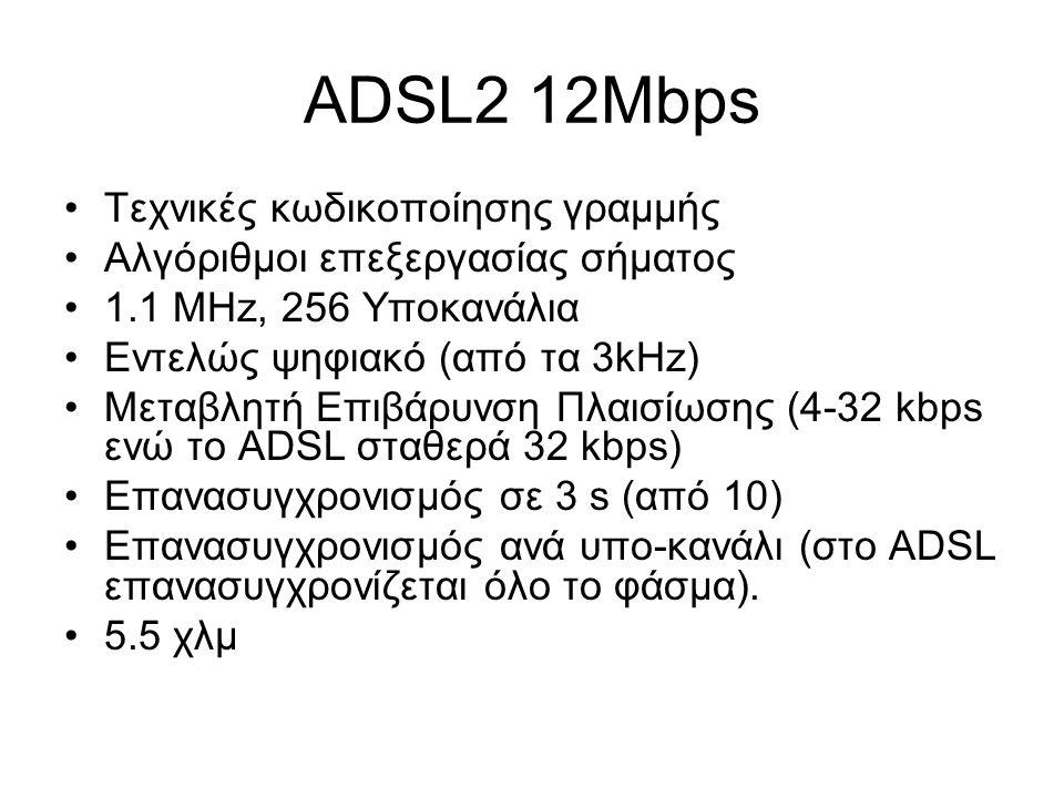 ADSL2 12Mbps Τεχνικές κωδικοποίησης γραμμής Αλγόριθμοι επεξεργασίας σήματος 1.1 MHz, 256 Υποκανάλια Εντελώς ψηφιακό (από τα 3kHz) Μεταβλητή Επιβάρυνση Πλαισίωσης (4-32 kbps ενώ το ADSL σταθερά 32 kbps) Επανασυγχρονισμός σε 3 s (από 10) Επανασυγχρονισμός ανά υπο-κανάλι (στο ADSL επανασυγχρονίζεται όλο το φάσμα).
