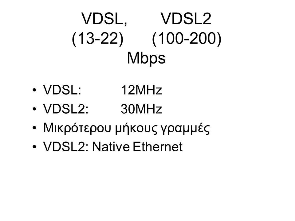 VDSL, VDSL2 (13-22) (100-200) Mbps VDSL:12MHz VDSL2:30MHz Μικρότερου μήκους γραμμές VDSL2: Native Ethernet