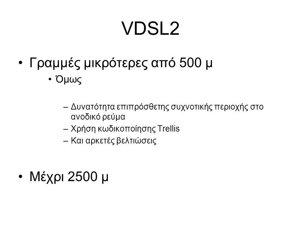 VDSL2 Γραμμές μικρότερες από 500 μ Όμως –Δυνατότητα επιπρόσθετης συχνοτικής περιοχής στο ανοδικό ρεύμα –Χρήση κωδικοποίησης Trellis –Και αρκετές βελτιώσεις Μέχρι 2500 μ
