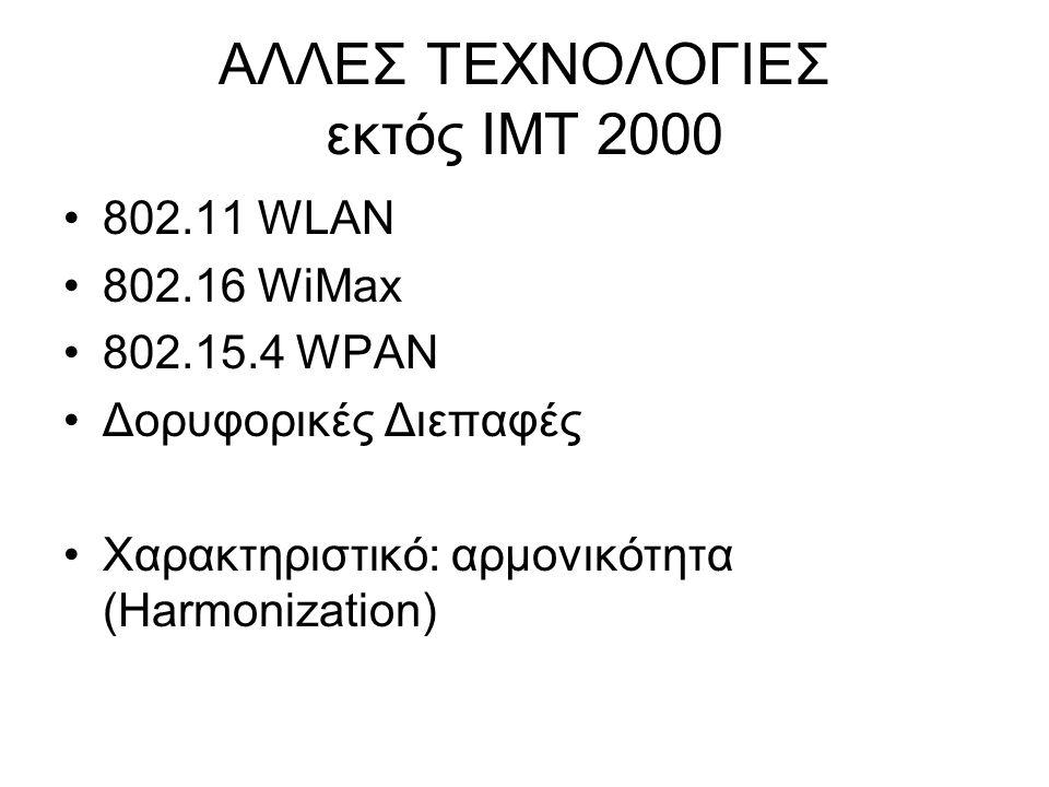 ΑΛΛΕΣ ΤΕΧΝΟΛΟΓΙΕΣ εκτός IMT 2000 802.11 WLAN 802.16 WiMax 802.15.4 WPAN Δορυφορικές Διεπαφές Χαρακτηριστικό: αρμονικότητα (Harmonization)