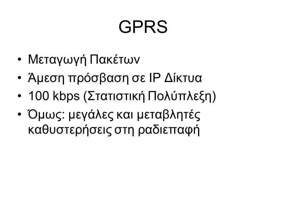 GPRS Μεταγωγή Πακέτων Άμεση πρόσβαση σε IP Δίκτυα 100 kbps (Στατιστική Πολύπλεξη) Όμως: μεγάλες και μεταβλητές καθυστερήσεις στη ραδιεπαφή