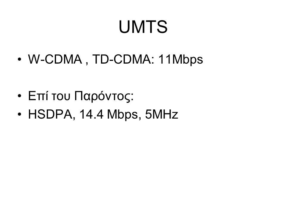 UMTS W-CDMA, TD-CDMA: 11Mbps Επί του Παρόντος: HSDPA, 14.4 Mbps, 5MHz