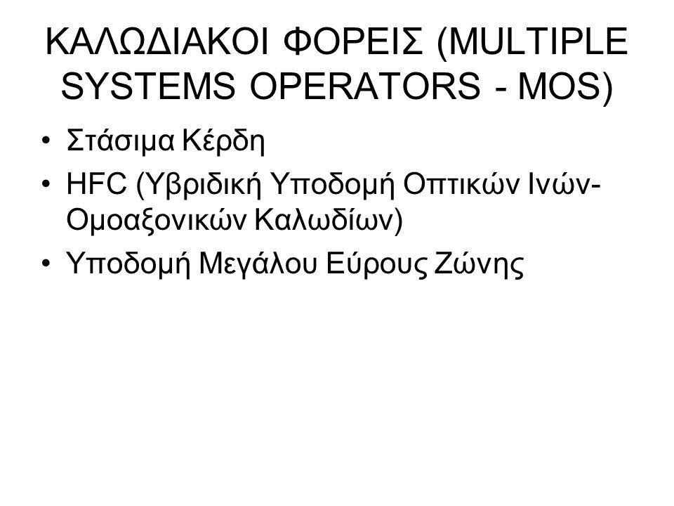 ΚΑΛΩΔΙΑΚΟΙ ΦΟΡΕΙΣ (MULTIPLE SYSTEMS OPERATORS - MOS) Στάσιμα Κέρδη HFC (Υβριδική Υποδομή Οπτικών Ινών- Ομοαξονικών Καλωδίων) Υποδομή Μεγάλου Εύρους Ζώνης