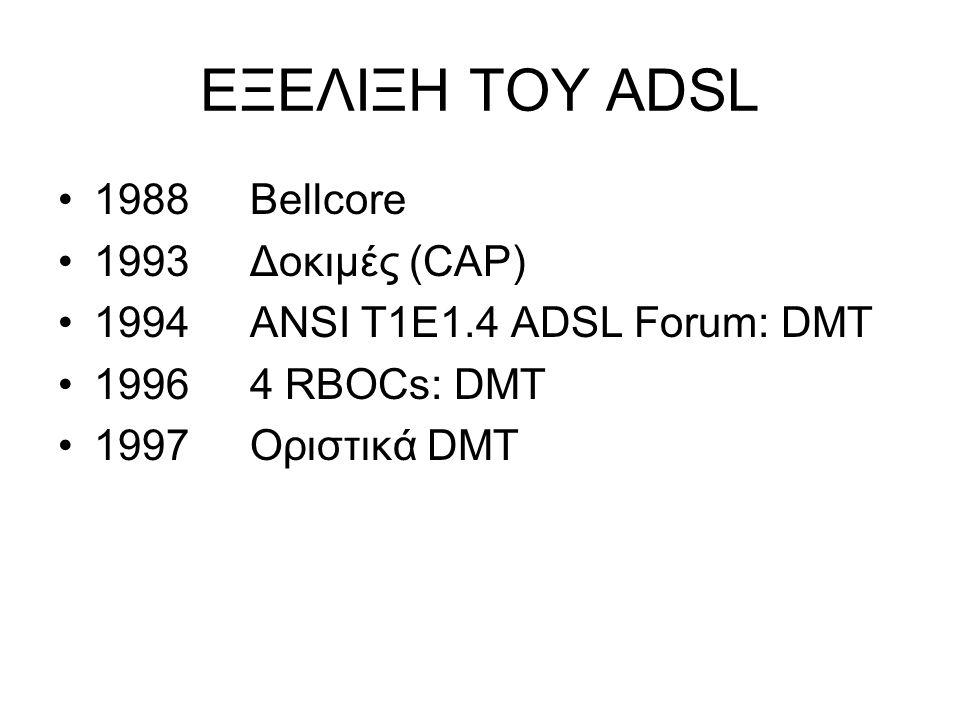 ΕΞΕΛΙΞΗ ΤΟΥ ADSL 1988Bellcore 1993Δοκιμές (CAP) 1994ANSI T1E1.4 ADSL Forum: DMT 19964 RBOCs: DMT 1997Οριστικά DMT