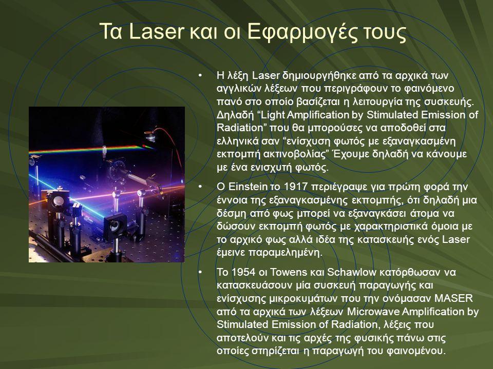 Τα Laser και οι Εφαρμογές τους Η λέξη Laser δημιουργήθηκε από τα αρχικά των αγγλικών λέξεων που περιγράφουν το φαινόμενο πανό στο οποίο βασίζεται η λε