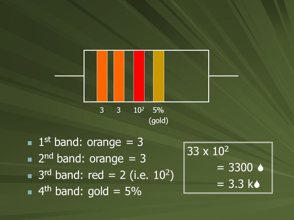 3310 2 5% (gold) 1 st band: orange = 3 2 nd band: orange = 3 3 rd band: red = 2 (i.e.