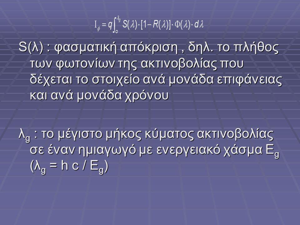 S(λ) : φασματική απόκριση, δηλ. το πλήθος των φωτονίων της ακτινοβολίας που δέχεται το στοιχείο ανά μονάδα επιφάνειας και ανά μονάδα χρόνου λ g : το μ