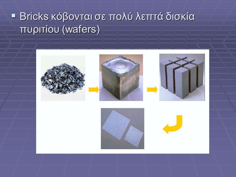  Bricks κόβονται σε πολύ λεπτά δισκία πυριτίου (wafers)