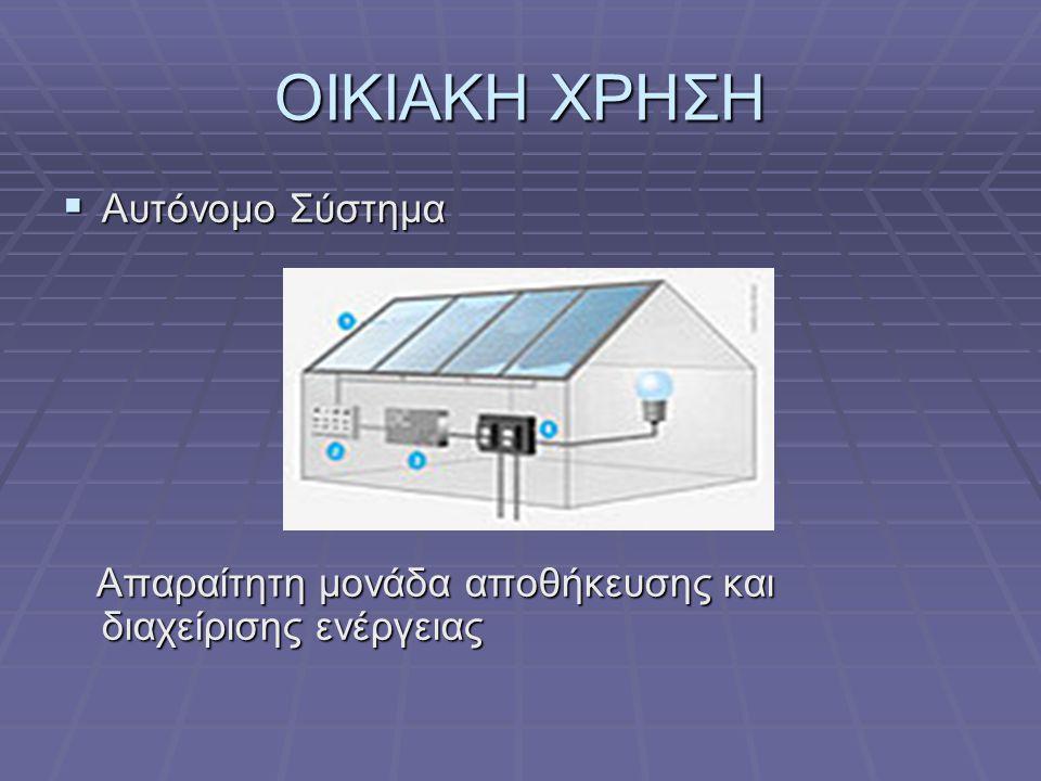 ΟΙΚΙΑΚΗ ΧΡΗΣΗ  Αυτόνομο Σύστημα Απαραίτητη μονάδα αποθήκευσης και διαχείρισης ενέργειας Απαραίτητη μονάδα αποθήκευσης και διαχείρισης ενέργειας