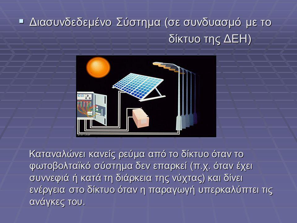  Διασυνδεδεμένο Σύστημα (σε συνδυασμό με το δίκτυο της ΔΕΗ) δίκτυο της ΔΕΗ) Καταναλώνει κανείς ρεύμα από το δίκτυο όταν το φωτοβολταϊκό σύστημα δεν επαρκεί (π.χ.