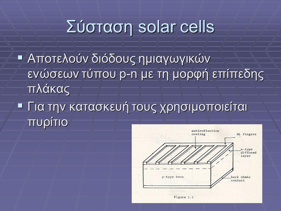 Σύσταση solar cells  Αποτελούν διόδους ημιαγωγικών ενώσεων τύπου p-n με τη μορφή επίπεδης πλάκας  Για την κατασκευή τους χρησιμοποιείται πυρίτιο