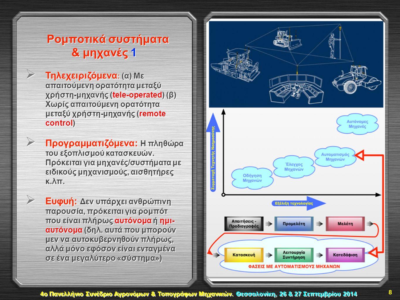 Ρομποτικά συστήματα & μηχανές 1  Τηλεχειριζόμενα : (α) Με απαιτούμενη ορατότητα μεταξύ χρήστη-μηχανής (tele-operated) (β) Χωρίς απαιτούμενη ορατότητα