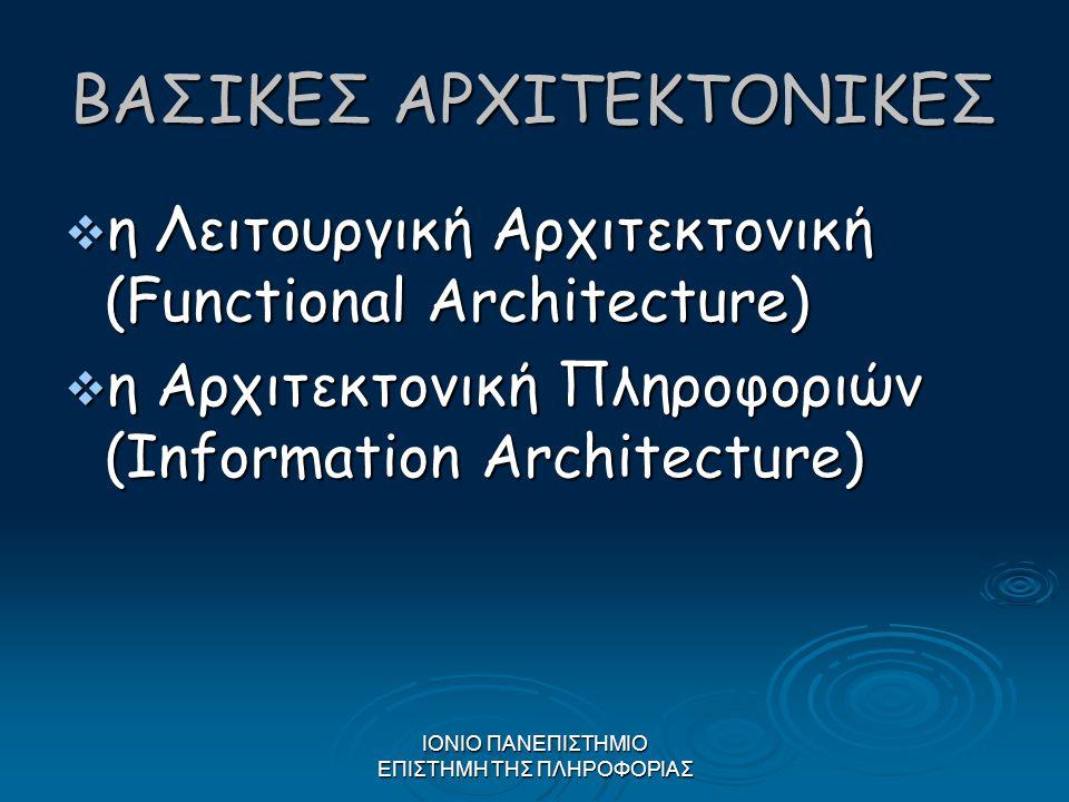 ΙΟΝΙΟ ΠΑΝΕΠΙΣΤΗΜΙΟ ΕΠΙΣΤΗΜΗ ΤΗΣ ΠΛΗΡΟΦΟΡΙΑΣ ΒΑΣΙΚΕΣ ΑΡΧΙΤΕΚΤΟΝΙΚΕΣ  η Λειτουργική Αρχιτεκτονική (Functional Architecture)  η Αρχιτεκτονική Πληροφορι
