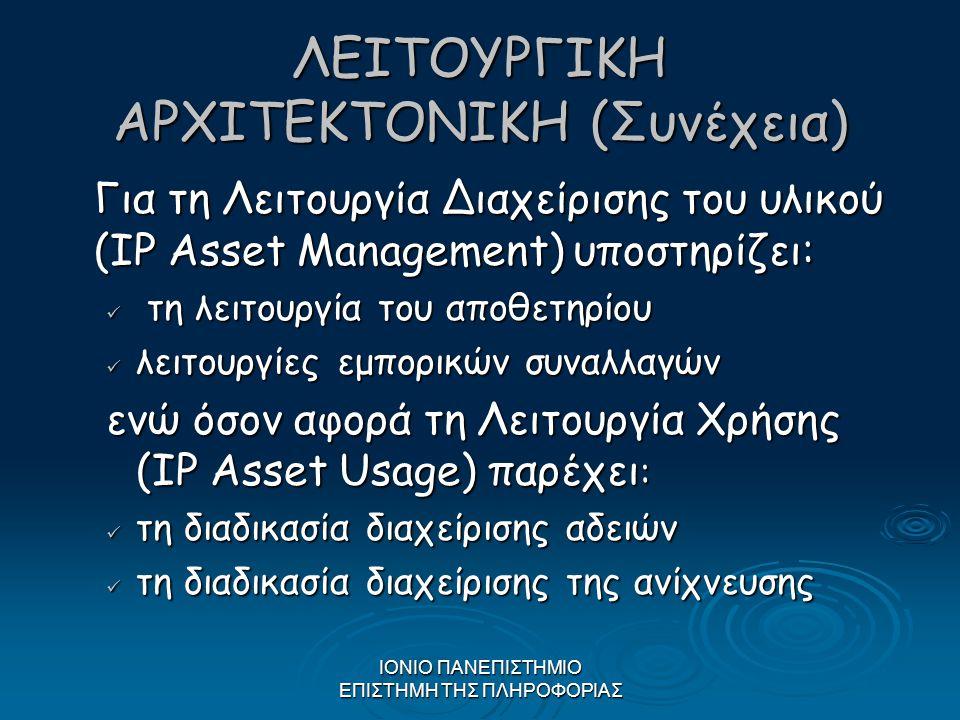 ΙΟΝΙΟ ΠΑΝΕΠΙΣΤΗΜΙΟ ΕΠΙΣΤΗΜΗ ΤΗΣ ΠΛΗΡΟΦΟΡΙΑΣ ΛΕΙΤΟΥΡΓΙΚΗ ΑΡΧΙΤΕΚΤΟΝΙΚΗ (Συνέχεια) Για τη Λειτουργία Διαχείρισης του υλικού (IP Asset Management) υποστη