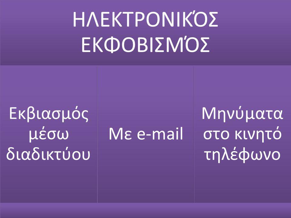 ΗΛΕΚΤΡΟΝΙΚΌΣ ΕΚΦΟΒΙΣΜΌΣ Εκβιασμός μέσω διαδικτύου Με e-mail Μηνύματα στο κινητό τηλέφωνο