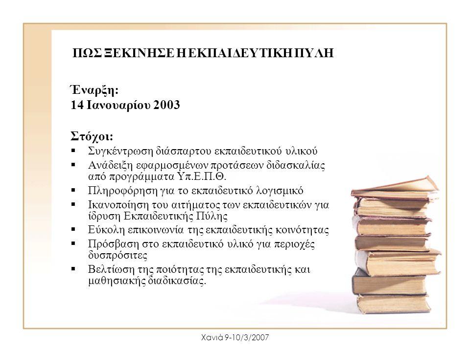 Χανιά 9-10/3/2007 ΠΩΣ ΞΕΚΙΝΗΣΕ Η ΕΚΠΑΙΔΕΥΤΙΚΗ ΠΥΛΗ Έναρξη: 14 Ιανουαρίου 2003 Στόχοι:  Συγκέντρωση διάσπαρτου εκπαιδευτικού υλικού  Ανάδειξη εφαρμοσ