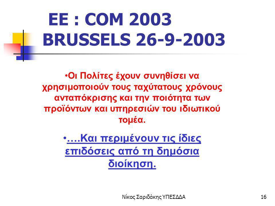 Νίκος Σαριδάκης ΥΠΕΣΔΔΑ16 EE : COM 2003 BRUSSELS 26-9-2003 Οι Πολίτες έχουν συνηθίσει να χρησιμοποιούν τους ταχύτατους χρόνους ανταπόκρισης και την πο