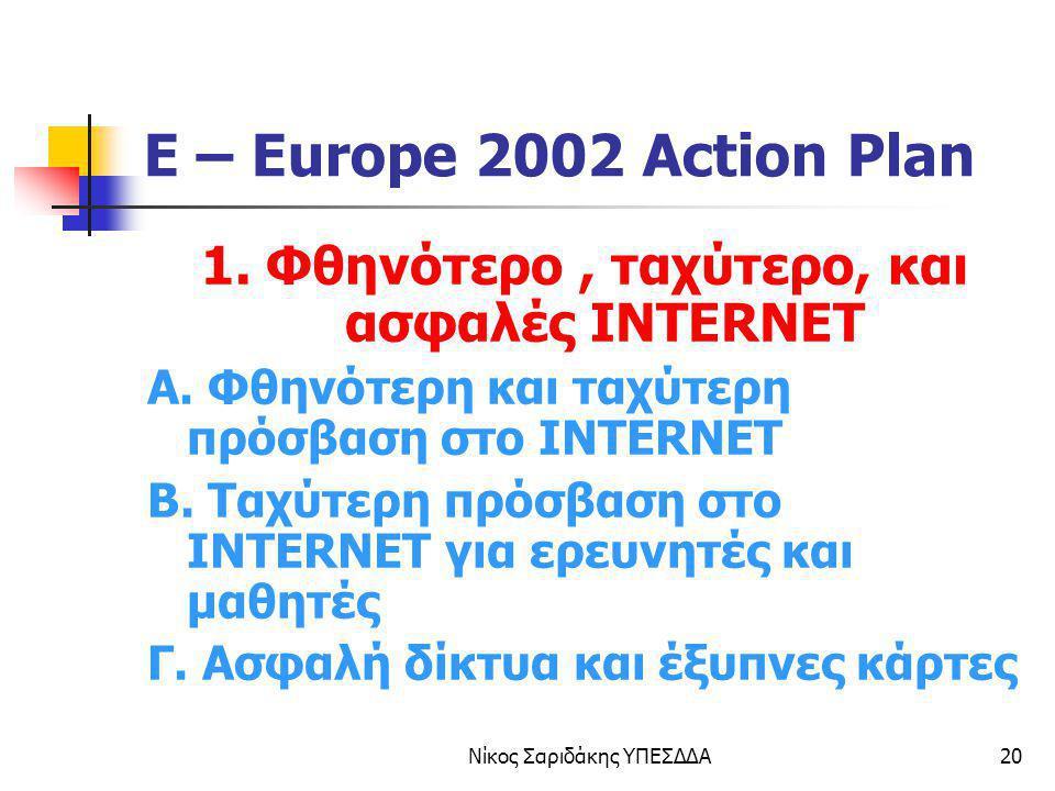 Νίκος Σαριδάκης ΥΠΕΣΔΔΑ20 E – Europe 2002 Action Plan 1. Φθηνότερο, ταχύτερο, και ασφαλές INTERNET Α. Φθηνότερη και ταχύτερη πρόσβαση στο INTERNET Β.
