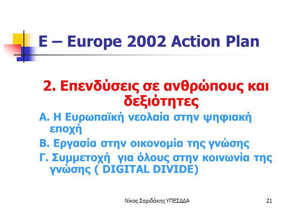 Νίκος Σαριδάκης ΥΠΕΣΔΔΑ21 E – Europe 2002 Action Plan 2. Επενδύσεις σε ανθρώπους και δεξιότητες Α. Η Ευρωπαϊκή νεολαία στην ψηφιακή εποχή Β. Εργασία σ