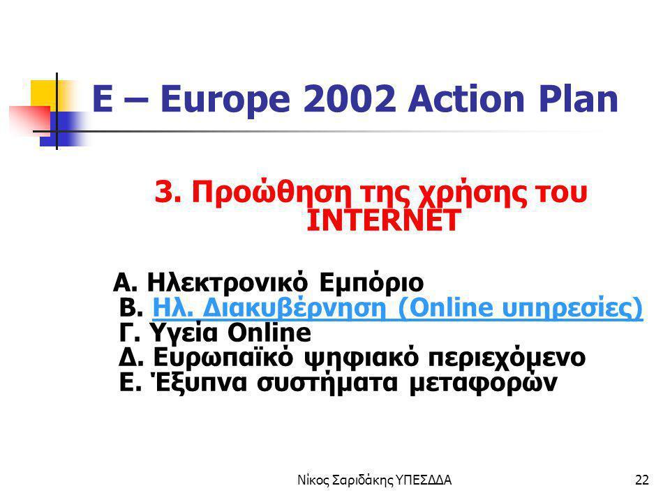 Νίκος Σαριδάκης ΥΠΕΣΔΔΑ22 E – Europe 2002 Action Plan 3. Προώθηση της χρήσης του INTERNET Α. Ηλεκτρονικό Εμπόριο Β. Ηλ. Διακυβέρνηση (Online υπηρεσίες