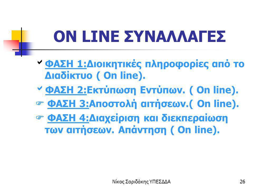 Νίκος Σαριδάκης ΥΠΕΣΔΔΑ26 ON LINE ΣΥΝΑΛΛΑΓΕΣ  ΦΑΣΗ 1:Διοικητικές πληροφορίες από το Διαδίκτυο ( On line).  ΦΑΣΗ 2:Εκτύπωση Εντύπων. ( On line).  ΦΑ