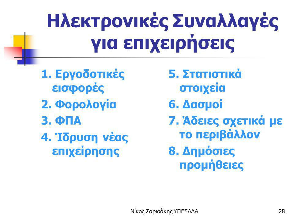 Νίκος Σαριδάκης ΥΠΕΣΔΔΑ28 Ηλεκτρονικές Συναλλαγές για επιχειρήσεις 1. Εργοδοτικές εισφορές 2. Φορολογία 3. ΦΠΑ 4. Ίδρυση νέας επιχείρησης 5. Στατιστικ