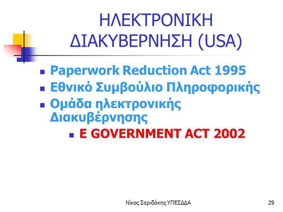 Νίκος Σαριδάκης ΥΠΕΣΔΔΑ29 ΗΛΕΚΤΡΟΝΙΚΗ ΔΙΑΚΥΒΕΡΝΗΣΗ (USA) Paperwork Reduction Act 1995 Εθνικό Συμβούλιο Πληροφορικής Ομάδα ηλεκτρονικής Διακυβέρνησης E