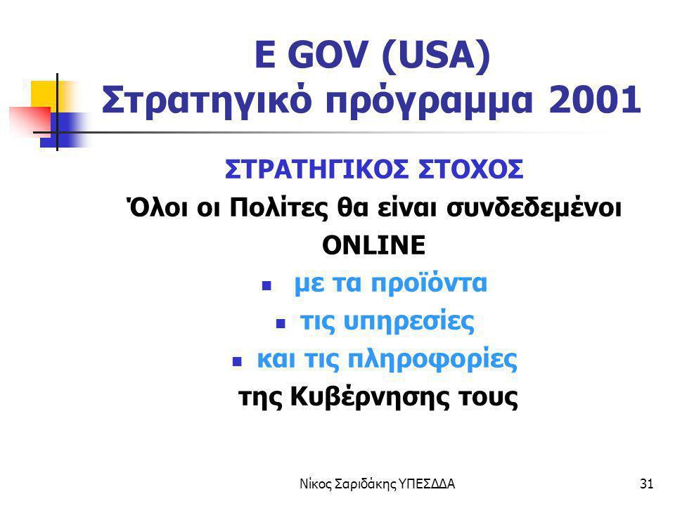 Νίκος Σαριδάκης ΥΠΕΣΔΔΑ31 E GOV (USA) Στρατηγικό πρόγραμμα 2001 ΣΤΡΑΤΗΓΙΚΟΣ ΣΤΟΧΟΣ Όλοι οι Πολίτες θα είναι συνδεδεμένοι ONLINE με τα προϊόντα τις υπη