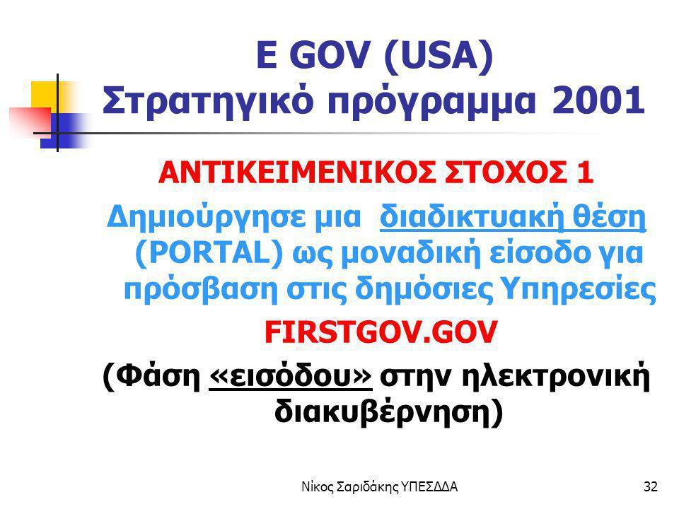 Νίκος Σαριδάκης ΥΠΕΣΔΔΑ32 E GOV (USA) Στρατηγικό πρόγραμμα 2001 ΑΝΤΙΚΕΙΜΕΝΙΚΟΣ ΣΤΟΧΟΣ 1 Δημιούργησε μια διαδικτυακή θέση (PORTAL) ως μοναδική είσοδο γ