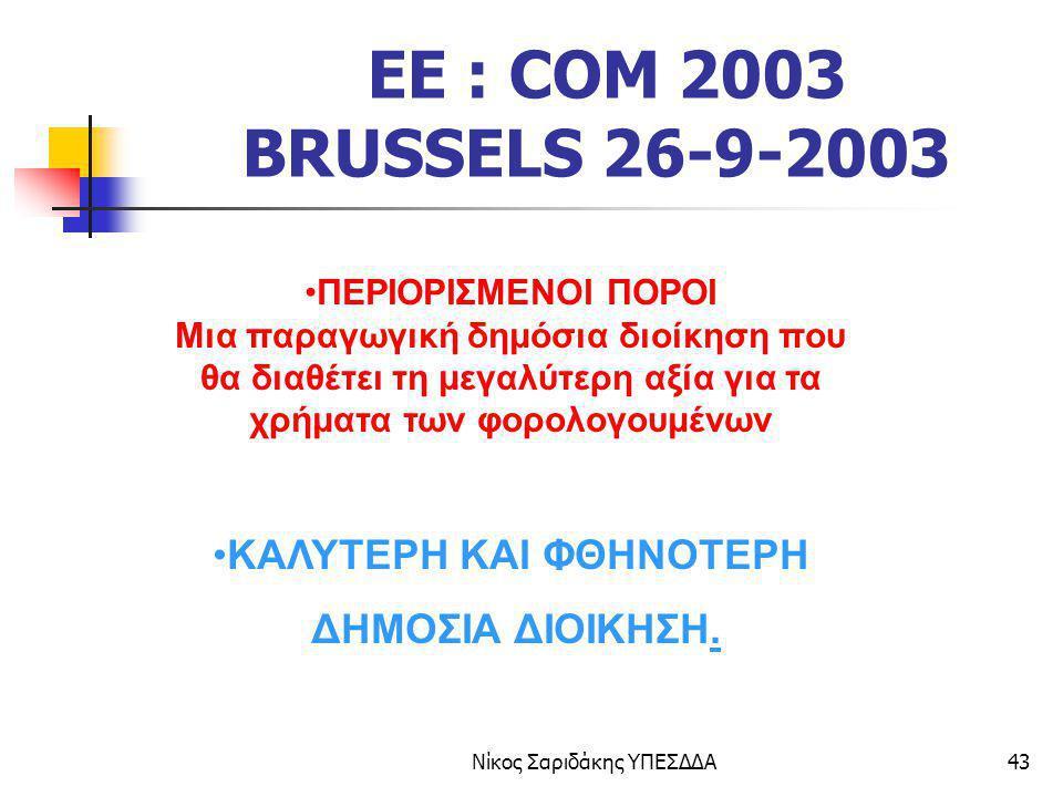 Νίκος Σαριδάκης ΥΠΕΣΔΔΑ43 EE : COM 2003 BRUSSELS 26-9-2003 ΠΕΡΙΟΡΙΣΜΕΝΟΙ ΠΟΡΟΙ Μια παραγωγική δημόσια διοίκηση που θα διαθέτει τη μεγαλύτερη αξία για