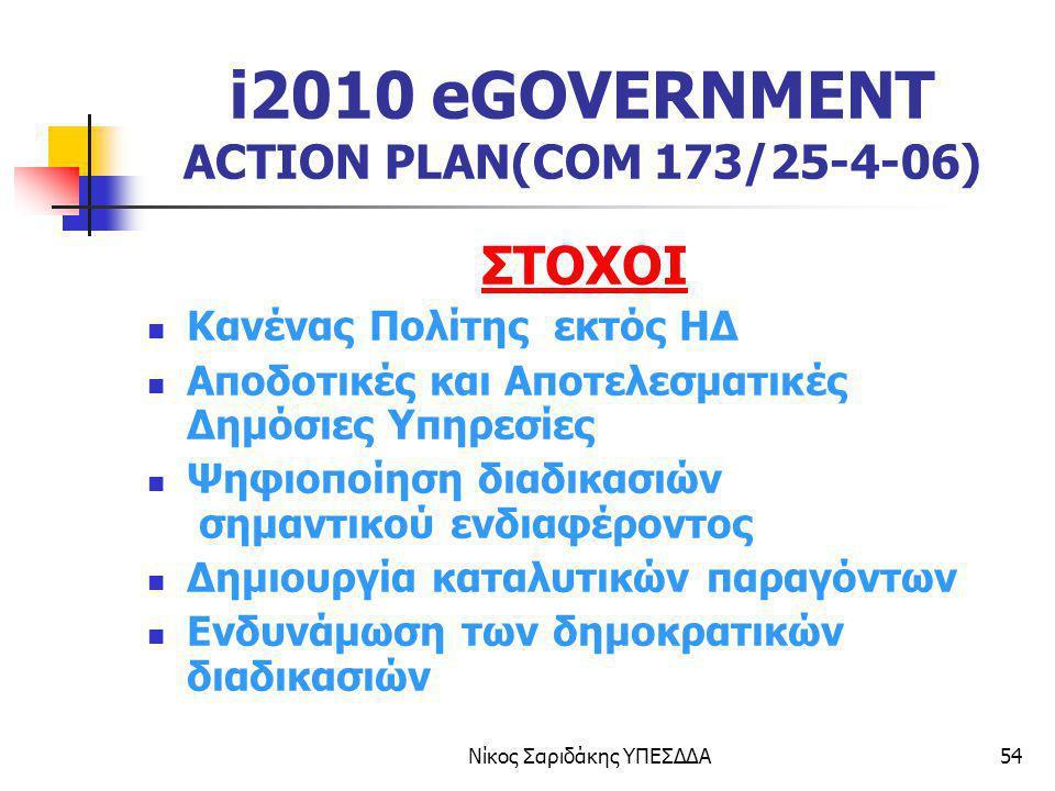 Νίκος Σαριδάκης ΥΠΕΣΔΔΑ54 i2010 eGOVERNMENT ACTION PLAN(COM 173/25-4-06) ΣΤΟΧΟΙ Κανένας Πολίτης εκτός ΗΔ Αποδοτικές και Αποτελεσματικές Δημόσιες Υπηρε