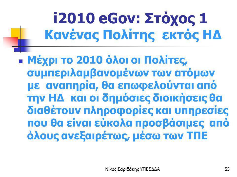 Νίκος Σαριδάκης ΥΠΕΣΔΔΑ55 i2010 eGov: Στόχος 1 Κανένας Πολίτης εκτός ΗΔ Μέχρι το 2010 όλοι οι Πολίτες, συμπεριλαμβανομένων των ατόμων με αναπηρία, θα
