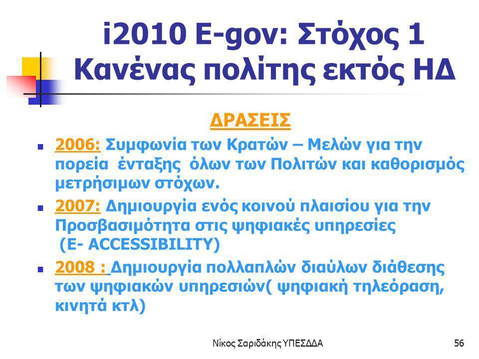 Νίκος Σαριδάκης ΥΠΕΣΔΔΑ56 i2010 E-gov: Στόχος 1 Κανένας πολίτης εκτός ΗΔ ΔΡΑΣΕΙΣ 2006: Συμφωνία των Κρατών – Μελών για την πορεία ένταξης όλων των Πολ
