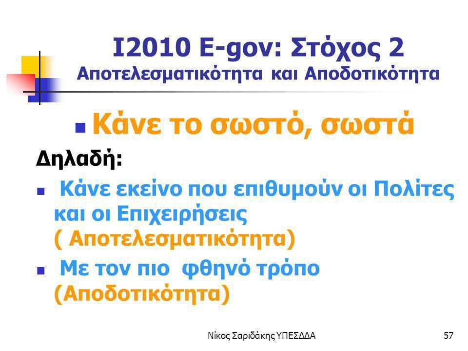 Νίκος Σαριδάκης ΥΠΕΣΔΔΑ57 I2010 E-gov: Στόχος 2 Αποτελεσματικότητα και Αποδοτικότητα Κάνε το σωστό, σωστά Δηλαδή: Κάνε εκείνο που επιθυμούν οι Πολίτες
