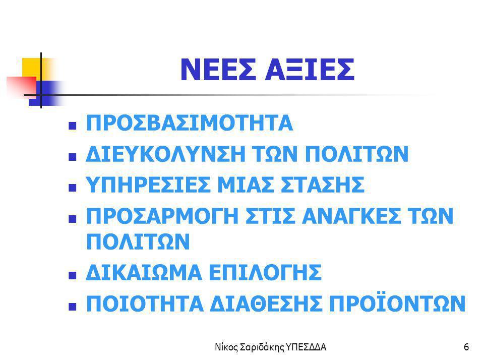 Νίκος Σαριδάκης ΥΠΕΣΔΔΑ37 Ηλεκτρονική διοίκηση e-europe 2005 Έως το 2005 η Ευρώπη πρέπει να διαθέτει: Δικτυακές Δημόσιες υπηρεσίες Ηλεκτρονική διακυβέρνηση Ηλεκτρονικές υπηρεσίες μάθησης Ηλεκτρονικές υπηρεσίες υγείας Δυναμικό περιβάλλον Ηλεκ.