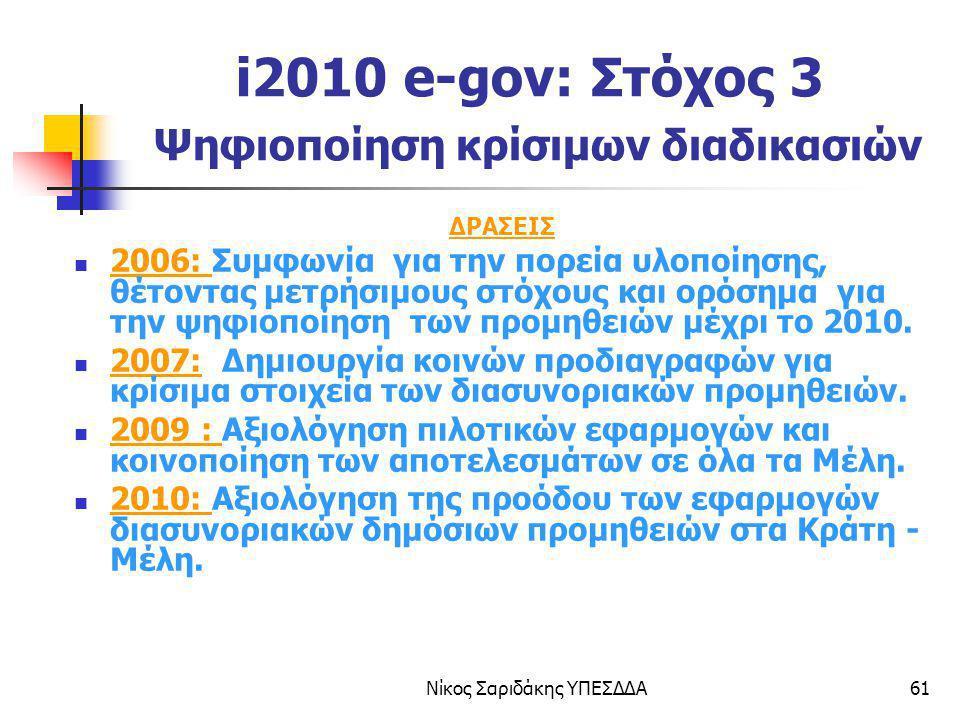 Νίκος Σαριδάκης ΥΠΕΣΔΔΑ61 i2010 e-gov: Στόχος 3 Ψηφιοποίηση κρίσιμων διαδικασιών ΔΡΑΣΕΙΣ 2006: Συμφωνία για την πορεία υλοποίησης, θέτοντας μετρήσιμου
