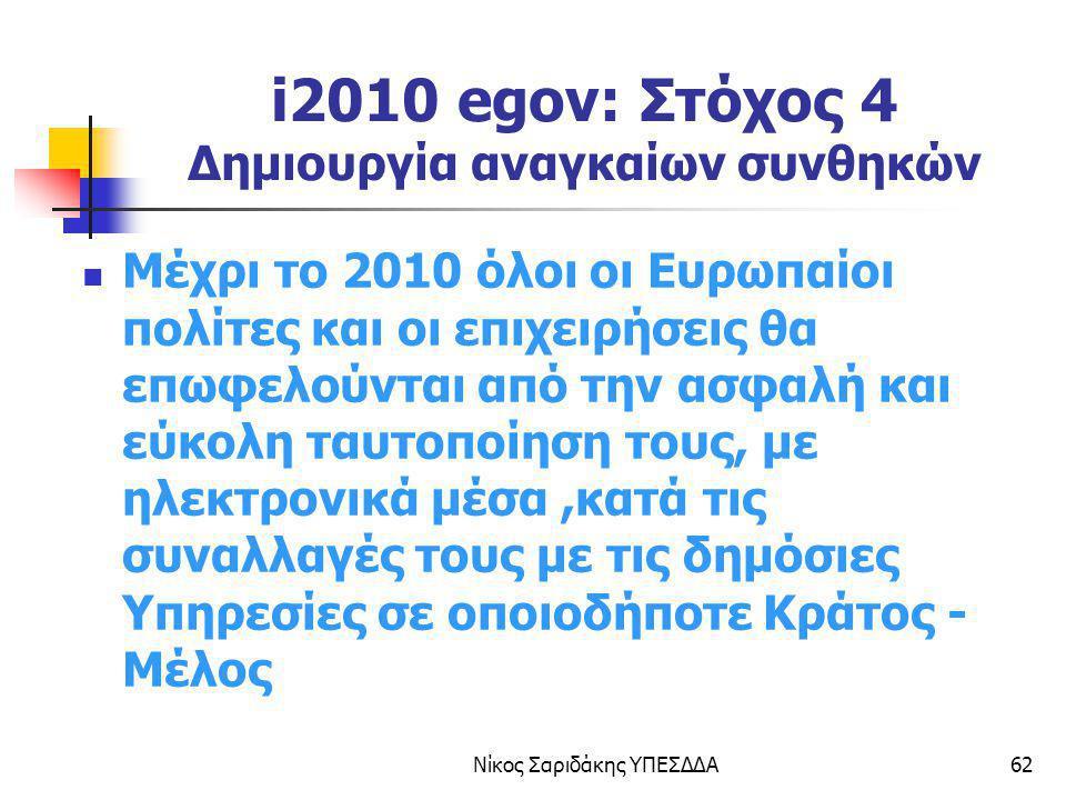 Νίκος Σαριδάκης ΥΠΕΣΔΔΑ62 i2010 egov: Στόχος 4 Δημιουργία αναγκαίων συνθηκών Μέχρι το 2010 όλοι οι Ευρωπαίοι πολίτες και οι επιχειρήσεις θα επωφελούντ