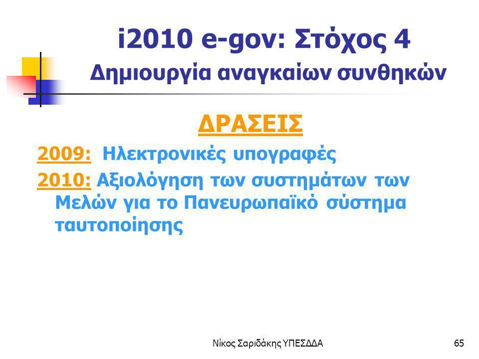 Νίκος Σαριδάκης ΥΠΕΣΔΔΑ65 i2010 e-gov: Στόχος 4 Δημιουργία αναγκαίων συνθηκών ΔΡΑΣΕΙΣ 2009: Ηλεκτρονικές υπογραφές 2010: Αξιολόγηση των συστημάτων των