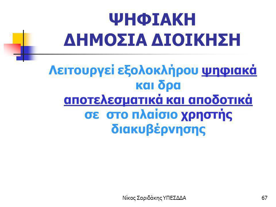Νίκος Σαριδάκης ΥΠΕΣΔΔΑ67 ΨΗΦΙΑΚΗ ΔΗΜΟΣΙΑ ΔΙΟΙΚΗΣΗ Λειτουργεί εξολοκλήρου ψηφιακά και δρα αποτελεσματικά και αποδοτικά σε στο πλαίσιο χρηστής διακυβέρ