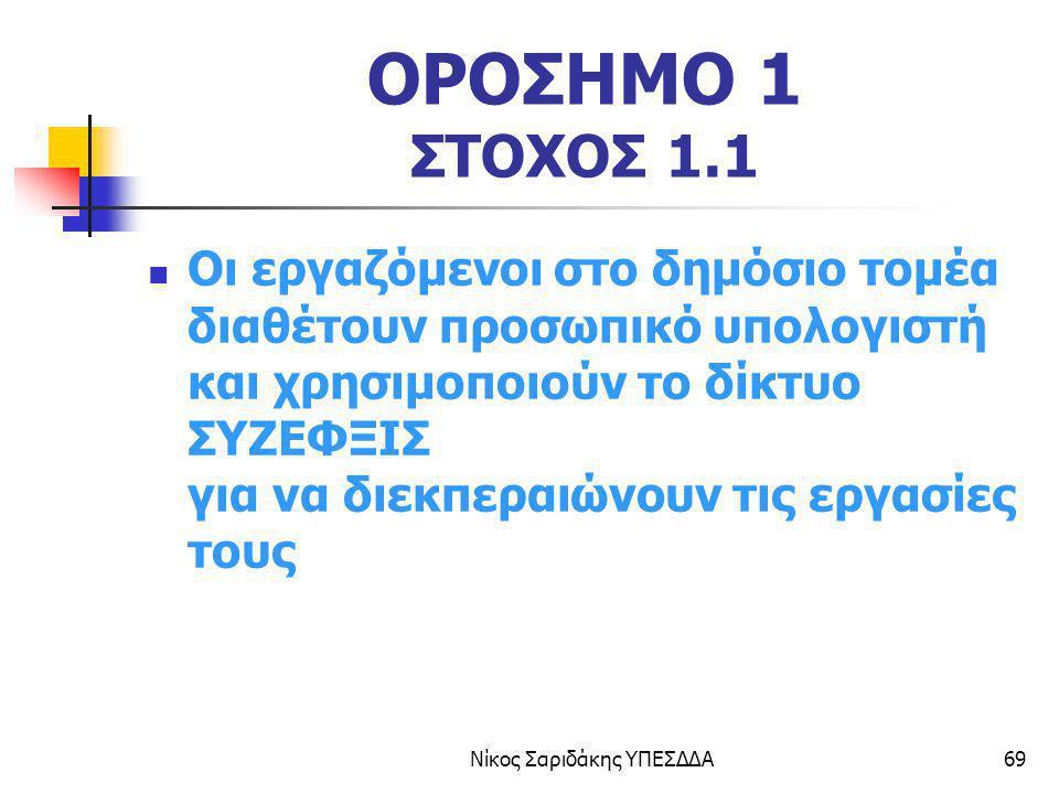 Νίκος Σαριδάκης ΥΠΕΣΔΔΑ69 ΟΡΟΣΗΜΟ 1 ΣΤΟΧΟΣ 1.1 Οι εργαζόμενοι στο δημόσιο τομέα διαθέτουν προσωπικό υπολογιστή και χρησιμοποιούν το δίκτυο ΣΥΖΕΦΞΙΣ γι