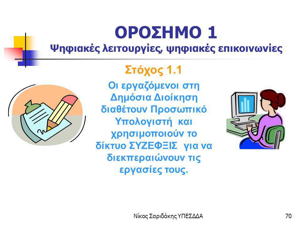 Νίκος Σαριδάκης ΥΠΕΣΔΔΑ70 ΟΡΟΣΗΜΟ 1 Ψηφιακές λειτουργίες, ψηφιακές επικοινωνίες Στόχος 1.1 Οι εργαζόμενοι στη Δημόσια Διοίκηση διαθέτουν Προσωπικό Υπο