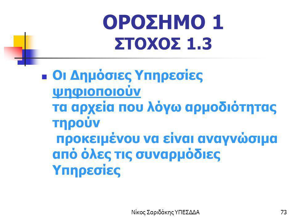Νίκος Σαριδάκης ΥΠΕΣΔΔΑ73 ΟΡΟΣΗΜΟ 1 ΣΤΟΧΟΣ 1.3 Οι Δημόσιες Υπηρεσίες ψηφιοποιούν τα αρχεία που λόγω αρμοδιότητας τηρούν προκειμένου να είναι αναγνώσιμ