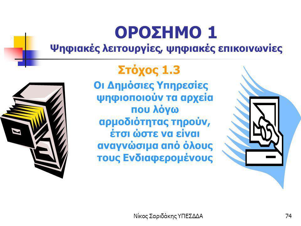 Νίκος Σαριδάκης ΥΠΕΣΔΔΑ74 ΟΡΟΣΗΜΟ 1 Ψηφιακές λειτουργίες, ψηφιακές επικοινωνίες Στόχος 1.3 Οι Δημόσιες Υπηρεσίες ψηφιοποιούν τα αρχεία που λόγω αρμοδι