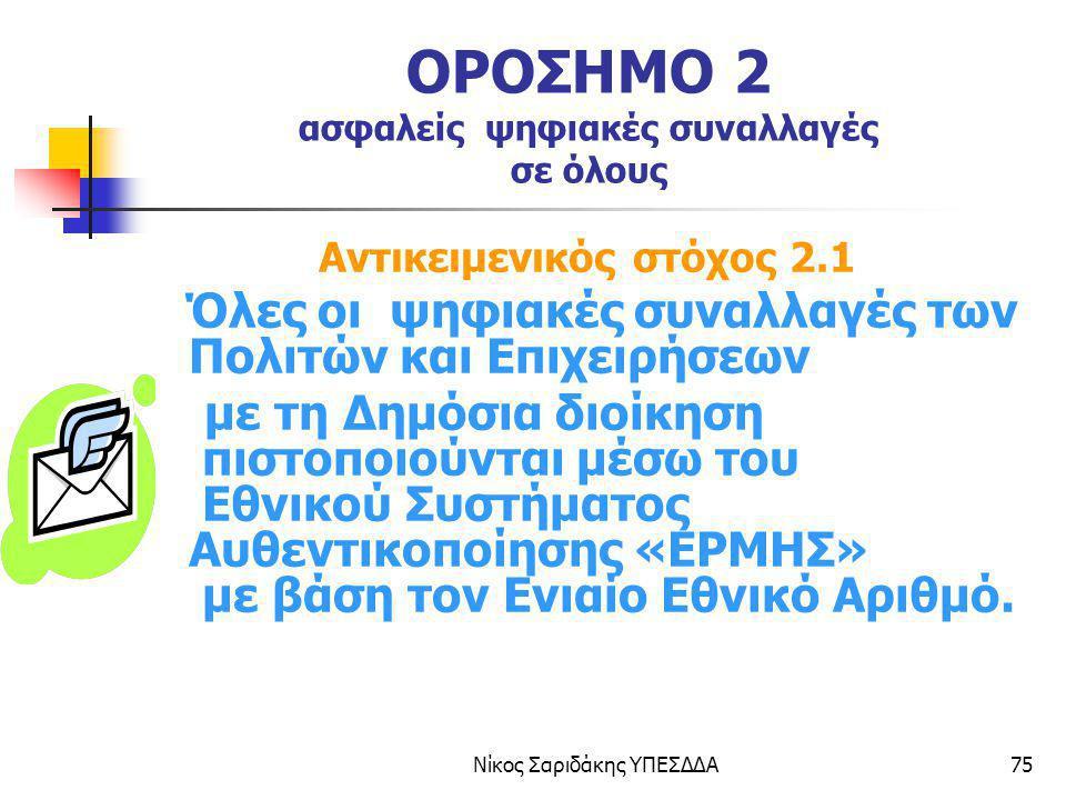 Νίκος Σαριδάκης ΥΠΕΣΔΔΑ75 ΟΡΟΣΗΜΟ 2 ασφαλείς ψηφιακές συναλλαγές σε όλους Αντικειμενικός στόχος 2.1 Όλες οι ψηφιακές συναλλαγές των Πολιτών και Επιχει