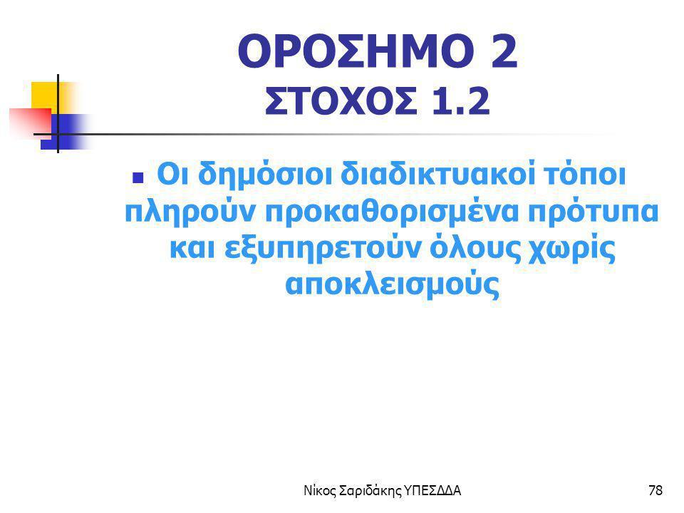 Νίκος Σαριδάκης ΥΠΕΣΔΔΑ78 ΟΡΟΣΗΜΟ 2 ΣΤΟΧΟΣ 1.2 Οι δημόσιοι διαδικτυακοί τόποι πληρούν προκαθορισμένα πρότυπα και εξυπηρετούν όλους χωρίς αποκλεισμούς